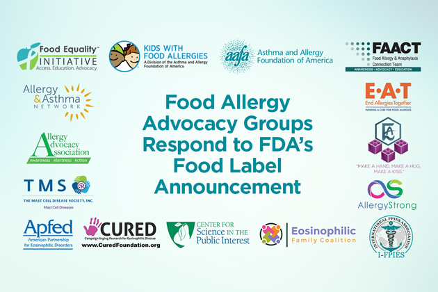 Food Allergy Advocacy Groups Respond to FDA's Food Labeling Announcement